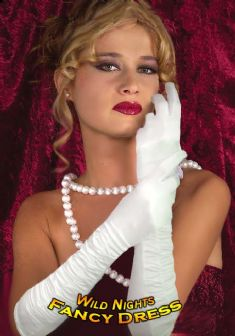 FANCY DRESS COSTUME GLOVES # ROUCHED SATIN WHITE